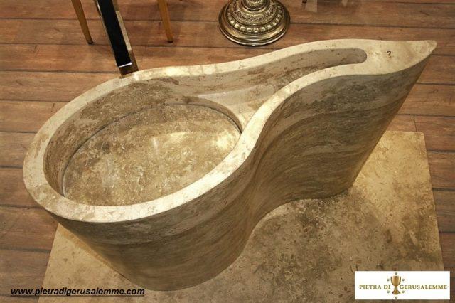 Lavabo artistico in Pietra di Gerusalemme Grey