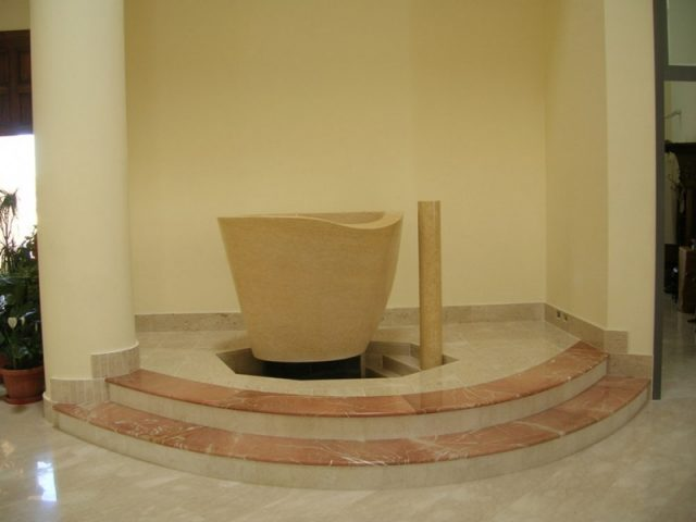 Stone baptismal font from Jerusalem