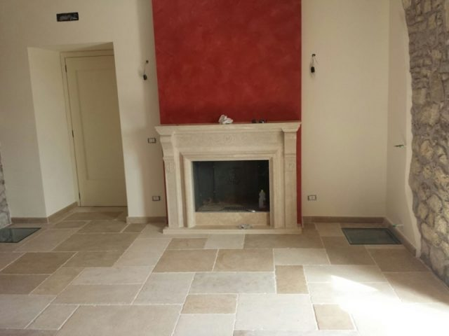 Jerusalem stone fireplace